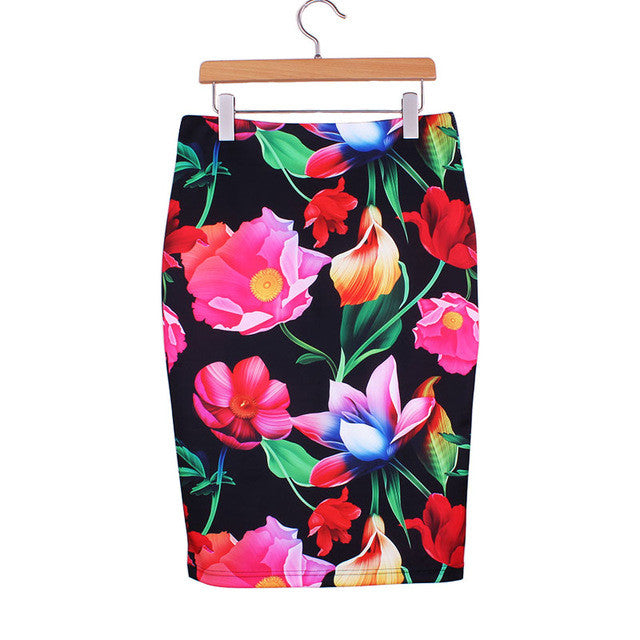 Western Vintage print middle faldas ladies pencil skirts