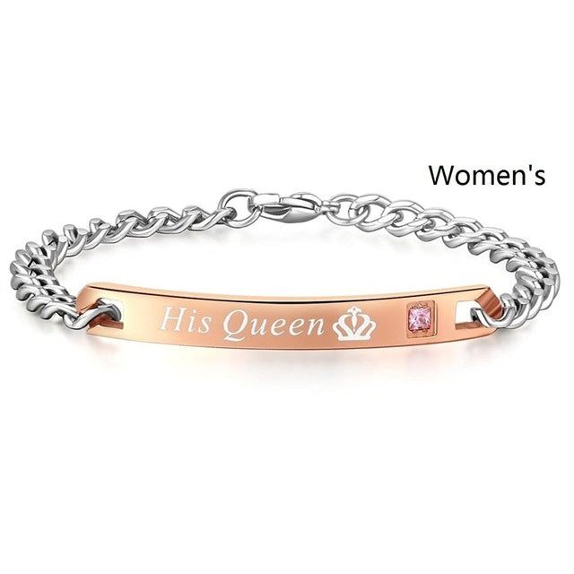Her King His Queen Couple Bracelets Stainless