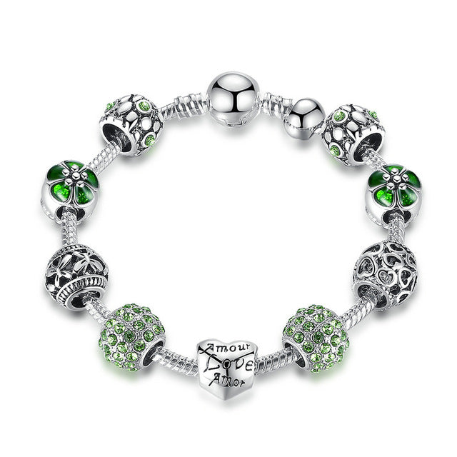 Charm Bracelet & Bangle with Love and Flower Crystal
