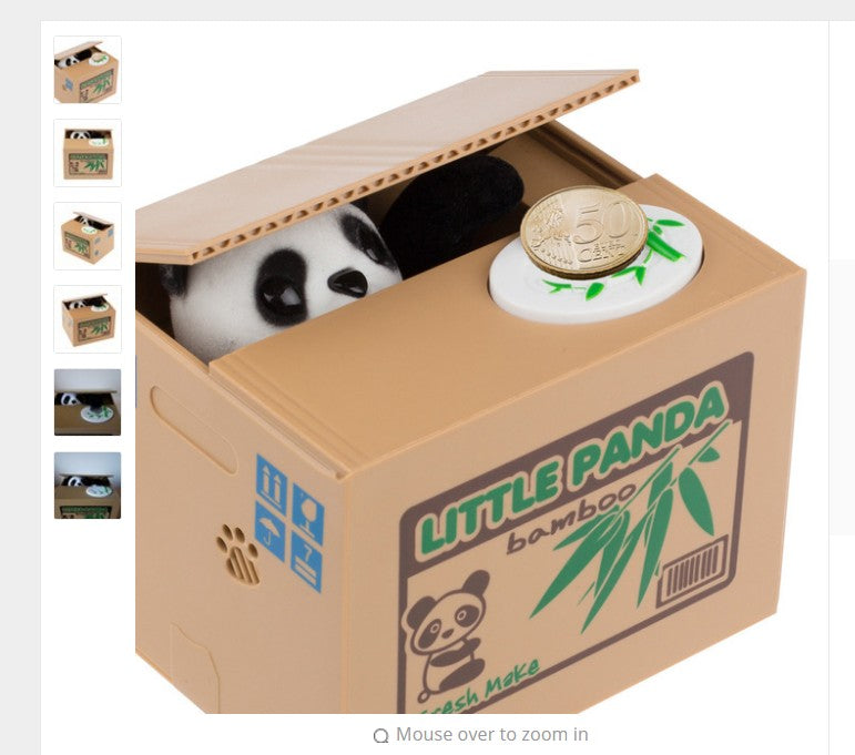 Panda Stealing Coin Bank