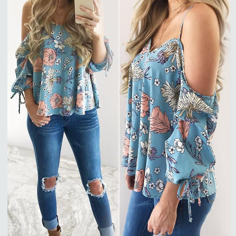Women Floral Spaghetti Strap Cold Shoulder Blouse V Neck 2017