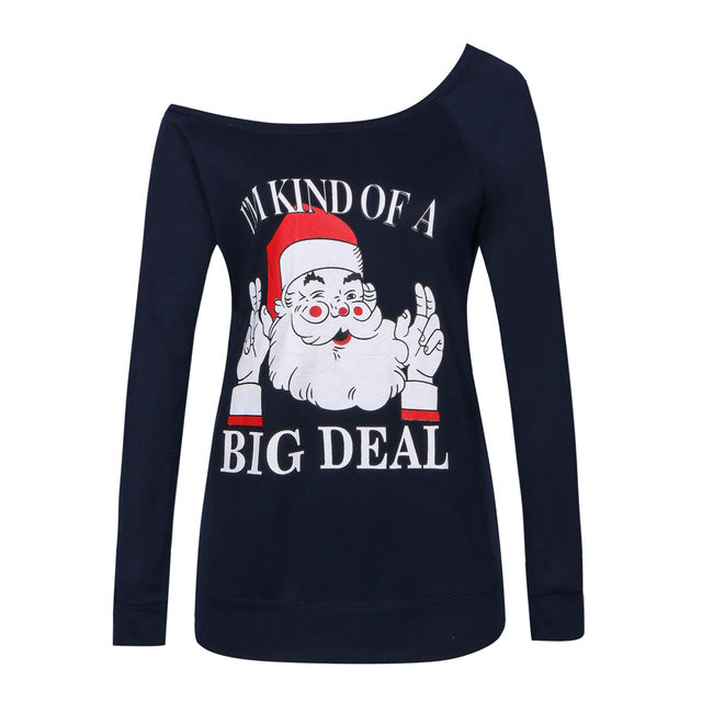 Women Autumn Winter Shoulder Christmas Long Sleeve Santa Claus