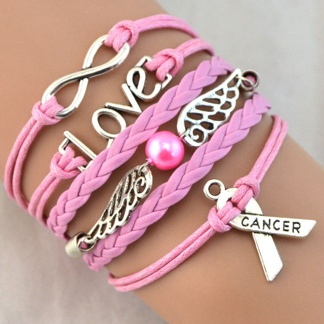 Silver Pink Infinity  Breast Cancer Love Charm