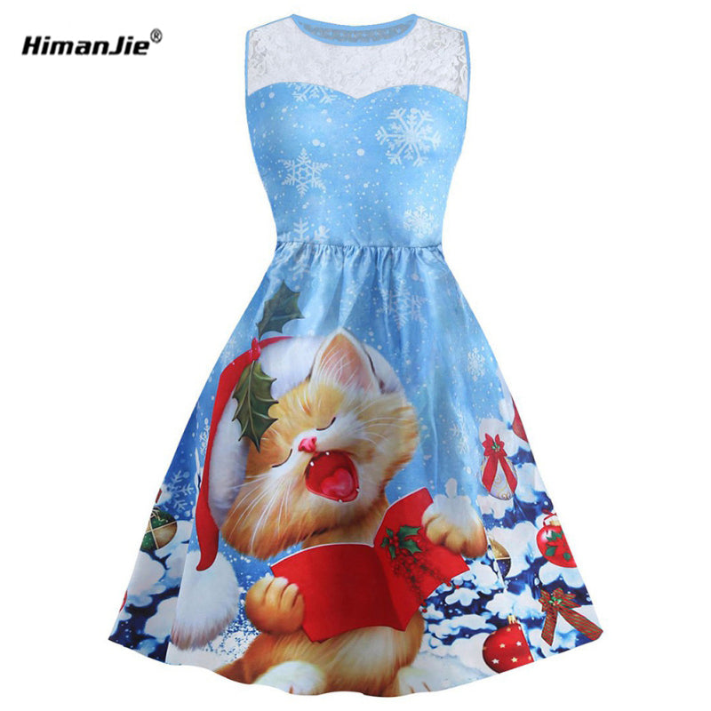 Cute print cat Dress Plus Size - Christmas