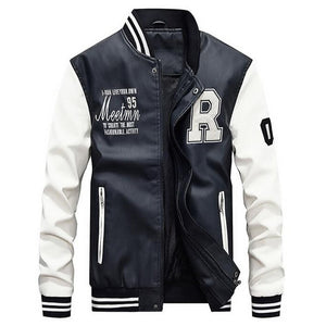 Jacket Men Embroidery Baseball Jackets Pu Leather Coats Slim Fit College Luxury Fleece Pilot Leather Jackets casaco masculino