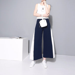 Pants Blue White Patchwork Elastic
