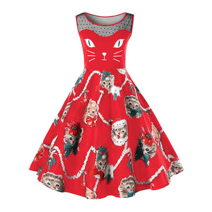 Plus Size Christmas Cat Print Dress
