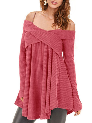Cold Shoulder Crisscross Tunic Sweater