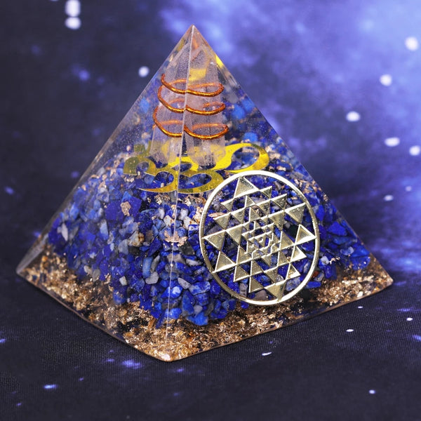 Sri Yantra OM Orgonite Natural Gemstones Pyramid