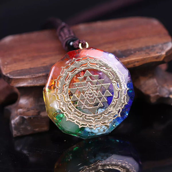 Sri Yantra Sacred Geometry Orgonite Quartz Necklace