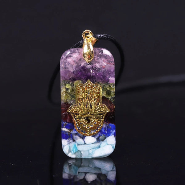 7 Gemstones Hand Of Fatifa Orgonite Crystal Necklace