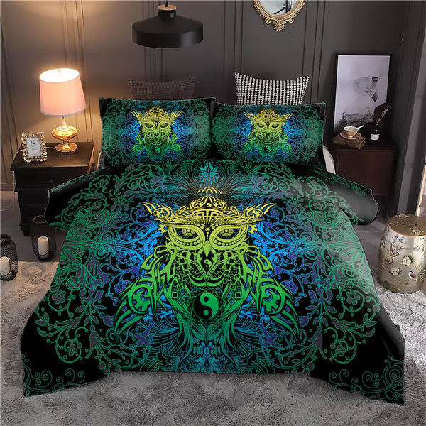 Azure Green Yin Yang Owl Bedding Set