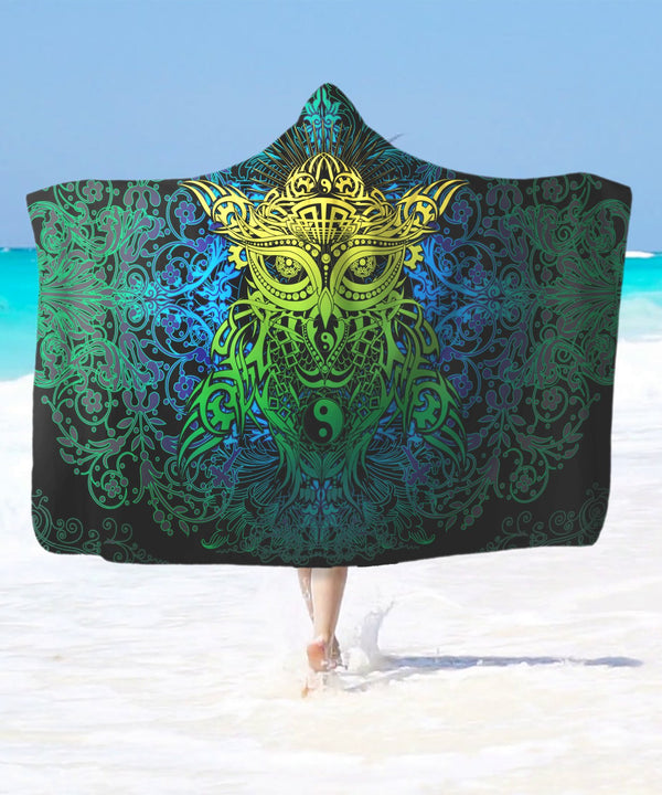 Azure Green Yin Yang Owl Hooded Blanket