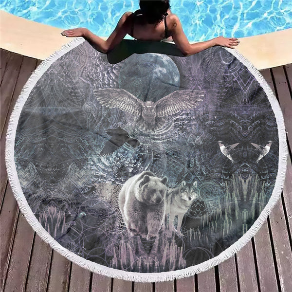 Animal Spirit B&W Beach Blanket - ShantiBanti
