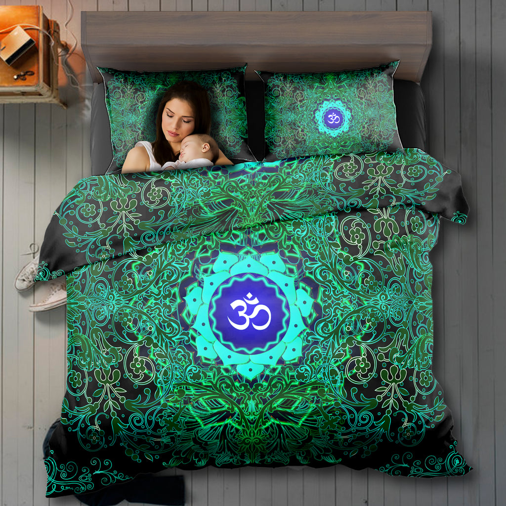 Green Fire Om Bedding Set