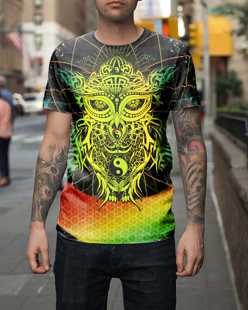 Color Galaxy Yin Yang Owl Men's T-shirt