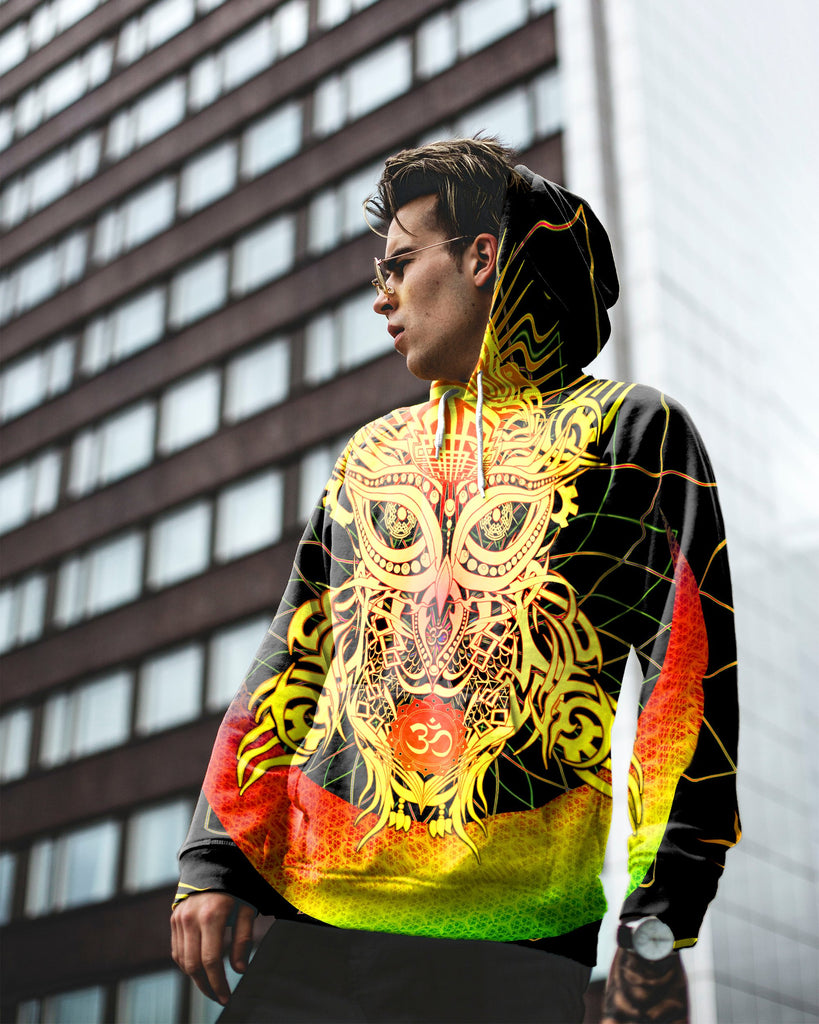 Color Om Owl big Men's Hoodie