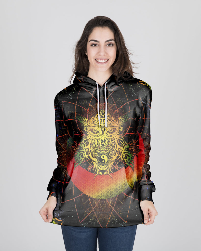 Colorful Yin Yang Galaxy Owl Women's Hoodie
