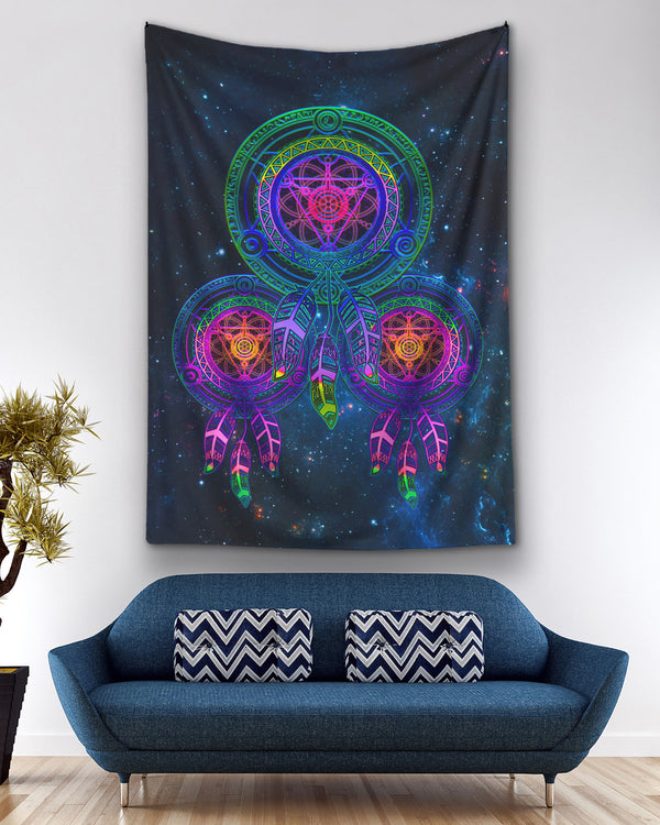 Galaxy Metatrons Flower Of Life Blue Dreamcatcher Ho Tapestry