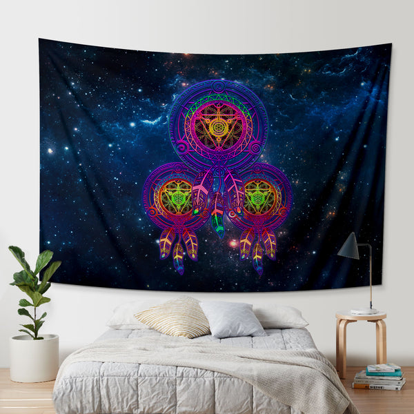 Galaxy Metatrons Flower Of Life Dreamcatcher Tapestry