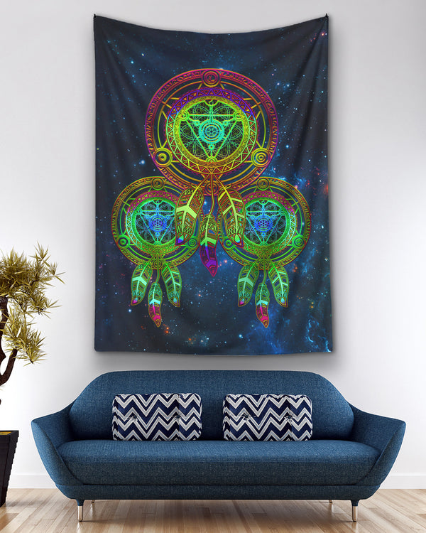 Galaxy Metatrons Flower Of Life Green Dreamcatcher Ho Tapestry
