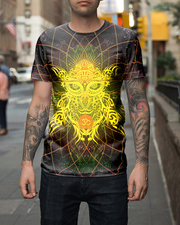 Galaxy Golden Om Owl Men's T-Shirt