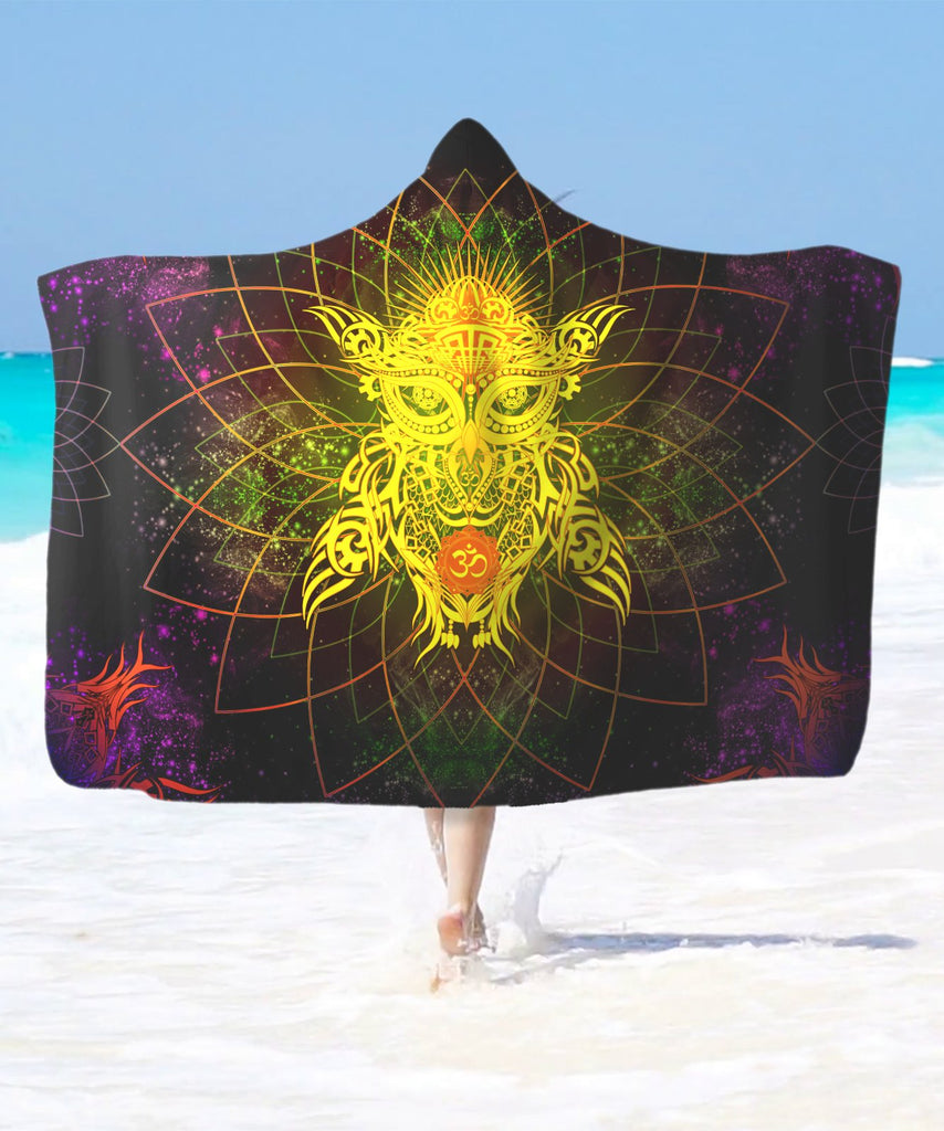 Galaxy Golden Om Owl Hooded Blanket