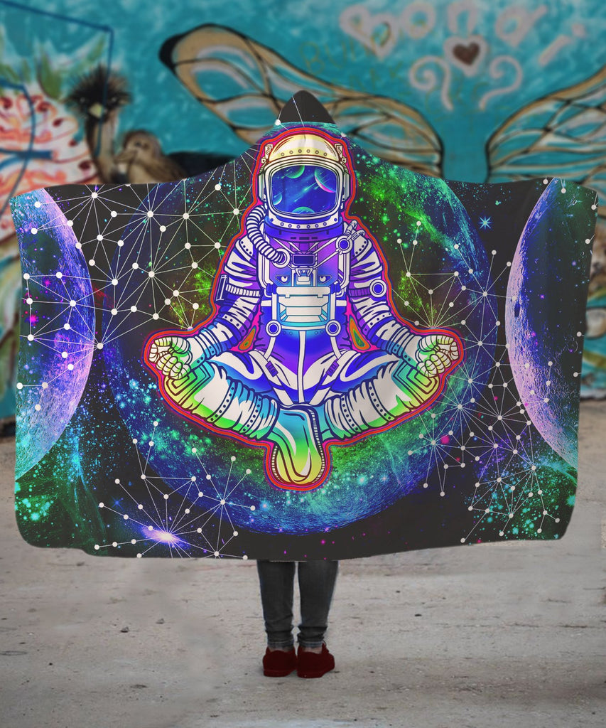 Geometric Moon Astronaut Hooded Blanket - ShantiBanti