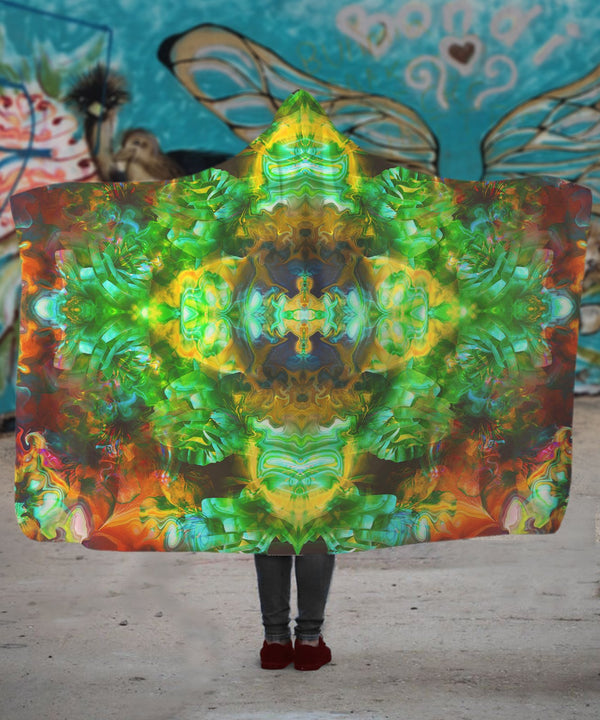 Acid Melt Green Hooded Blanket