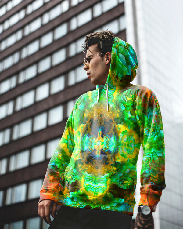 Acid Melt Green Men's Hoodie - ShantiBanti