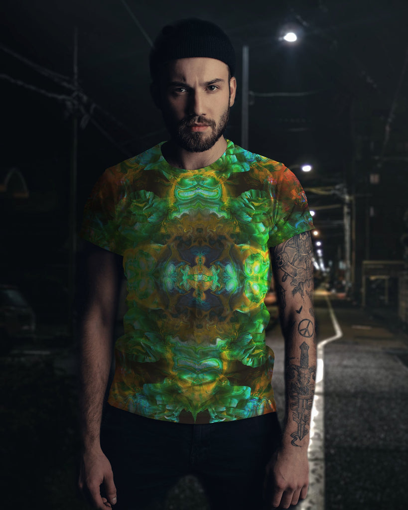 Acid Melt Green Men's T-shirt - ShantiBanti
