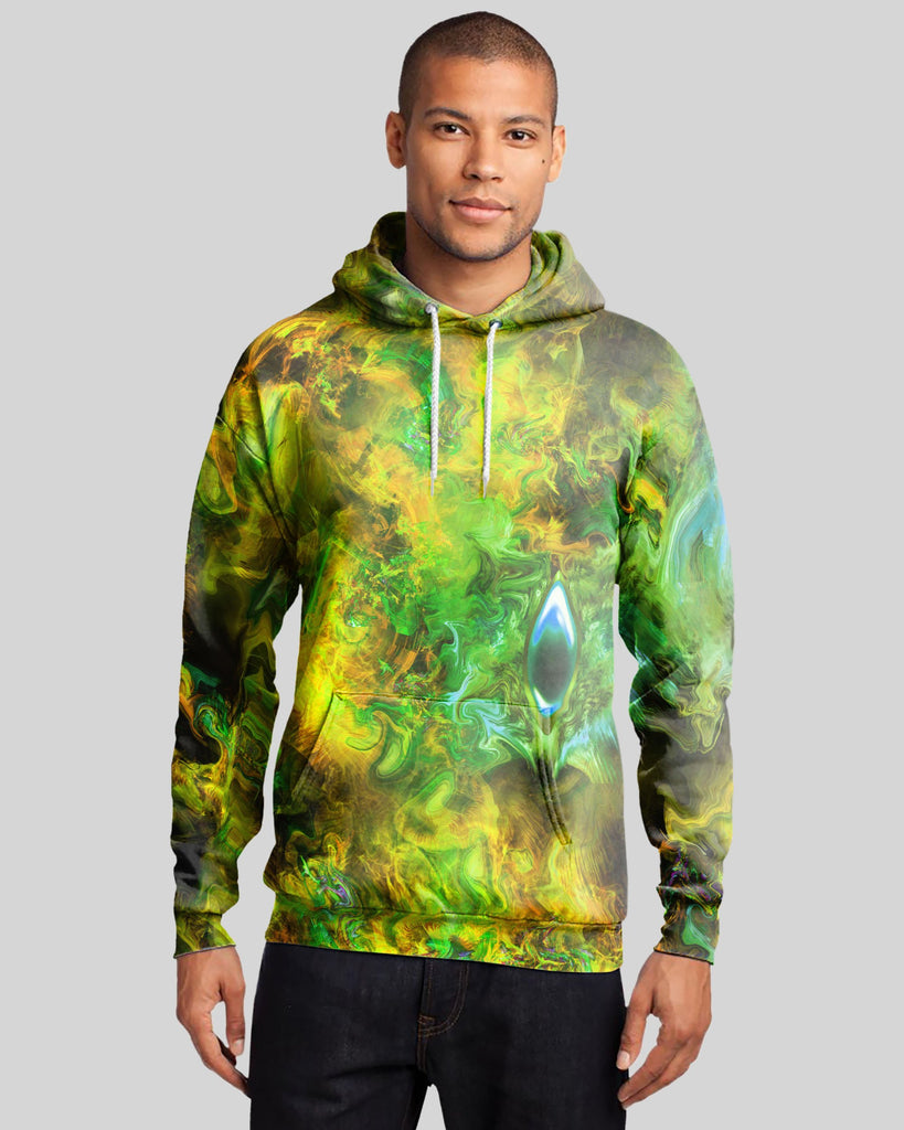 Fire Bath Green Men's Hoodie - ShantiBanti