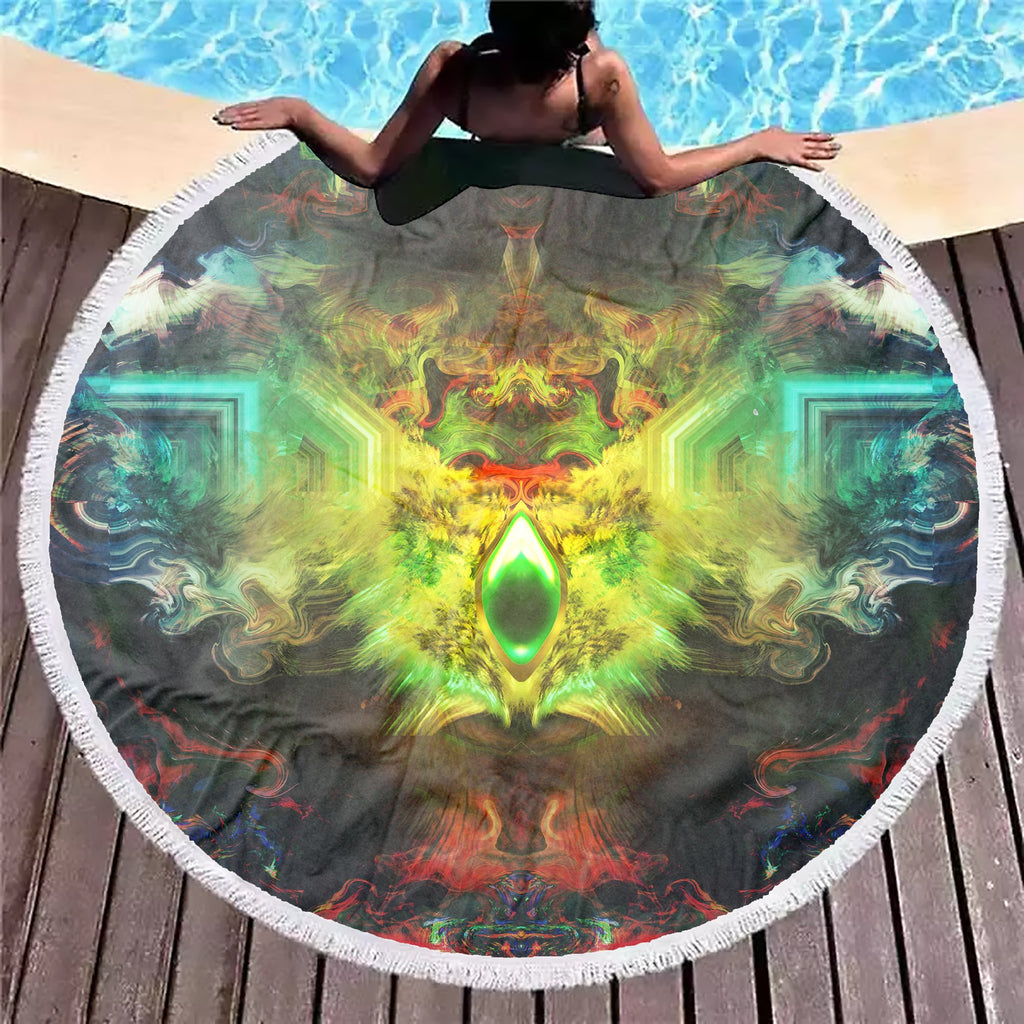 Fire Eye Ocean Green Beach Blanket - ShantiBanti