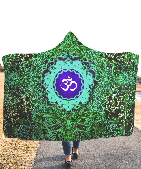 Green Fire Om Hooded Blanket - ShantiBanti