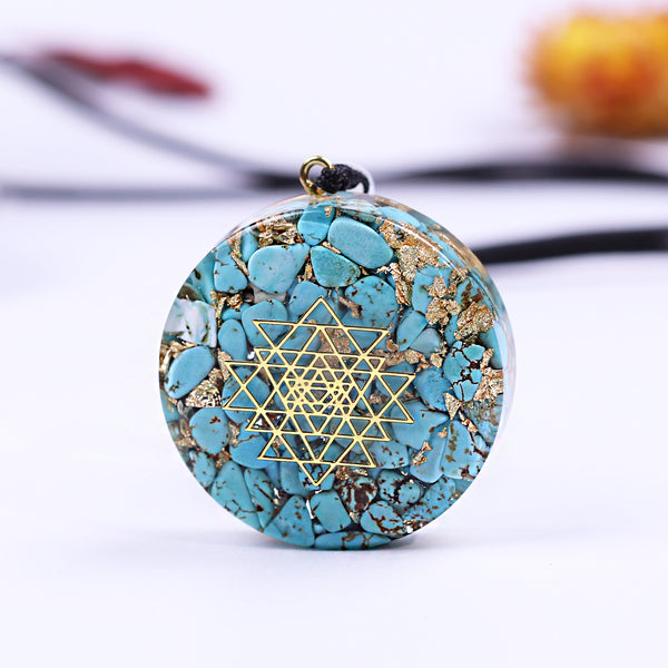 Natural Turquoise Sri Yantra Sacred Geometry Orgonite Quartz Necklace