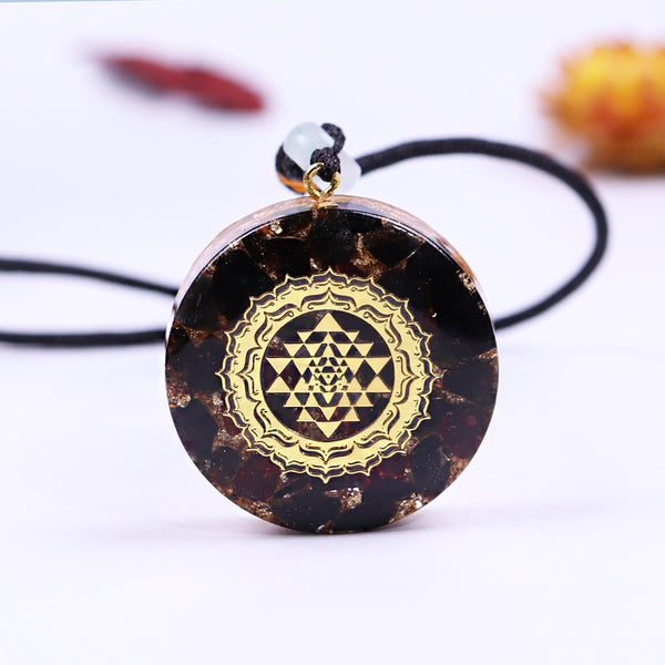Black Energy Sri Yantra Sacred Geometry Orgonite Quartz Necklace