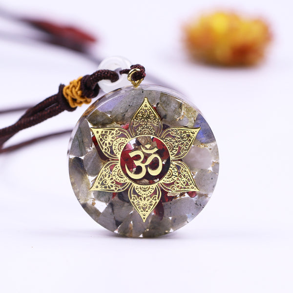 Natural Moonstone & Granet Om Symbol Orgonite Necklace