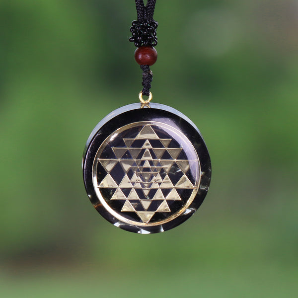 Black Sri Yantra Sacred Geometry Orgonite Quartz Necklace