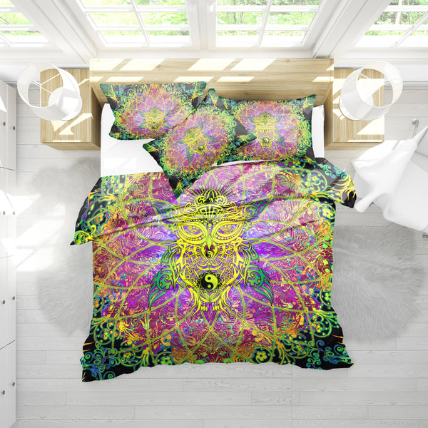 Mandala Colorful Owl Bedding Set