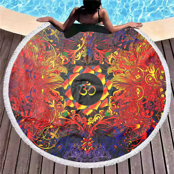 Mandala Fire Om Beach Blanket