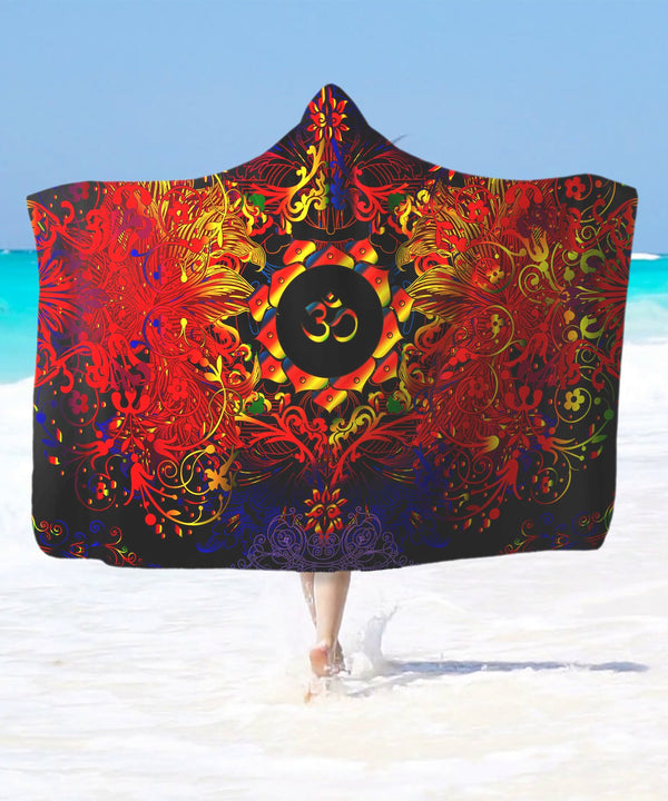 Mandala Fire Om Hooded Blanket