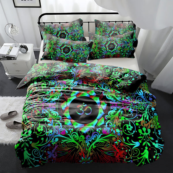 Mandala Greeny Om Bedding Set