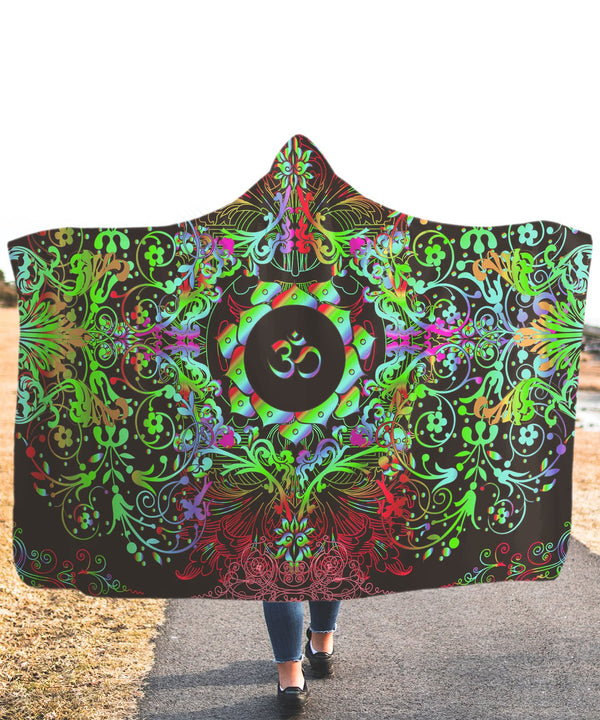 Mandala Greeny Om Hooded Blanket