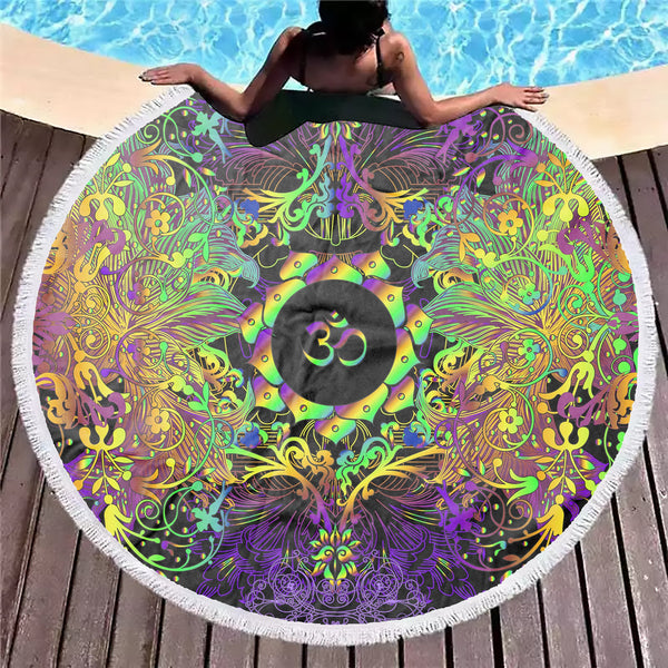 Mandala Insight Om Beach Blanket