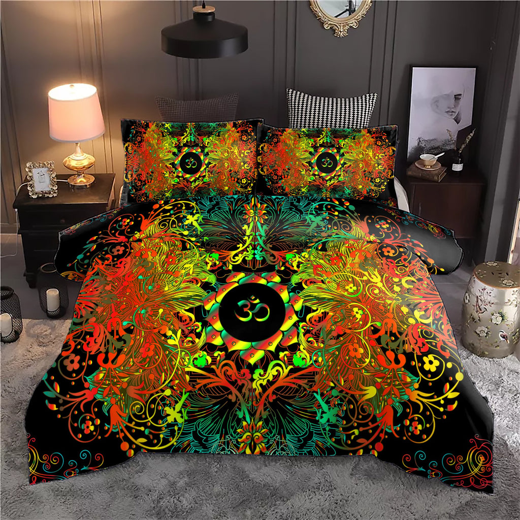 Mandala Orange Long Om Bedding Set