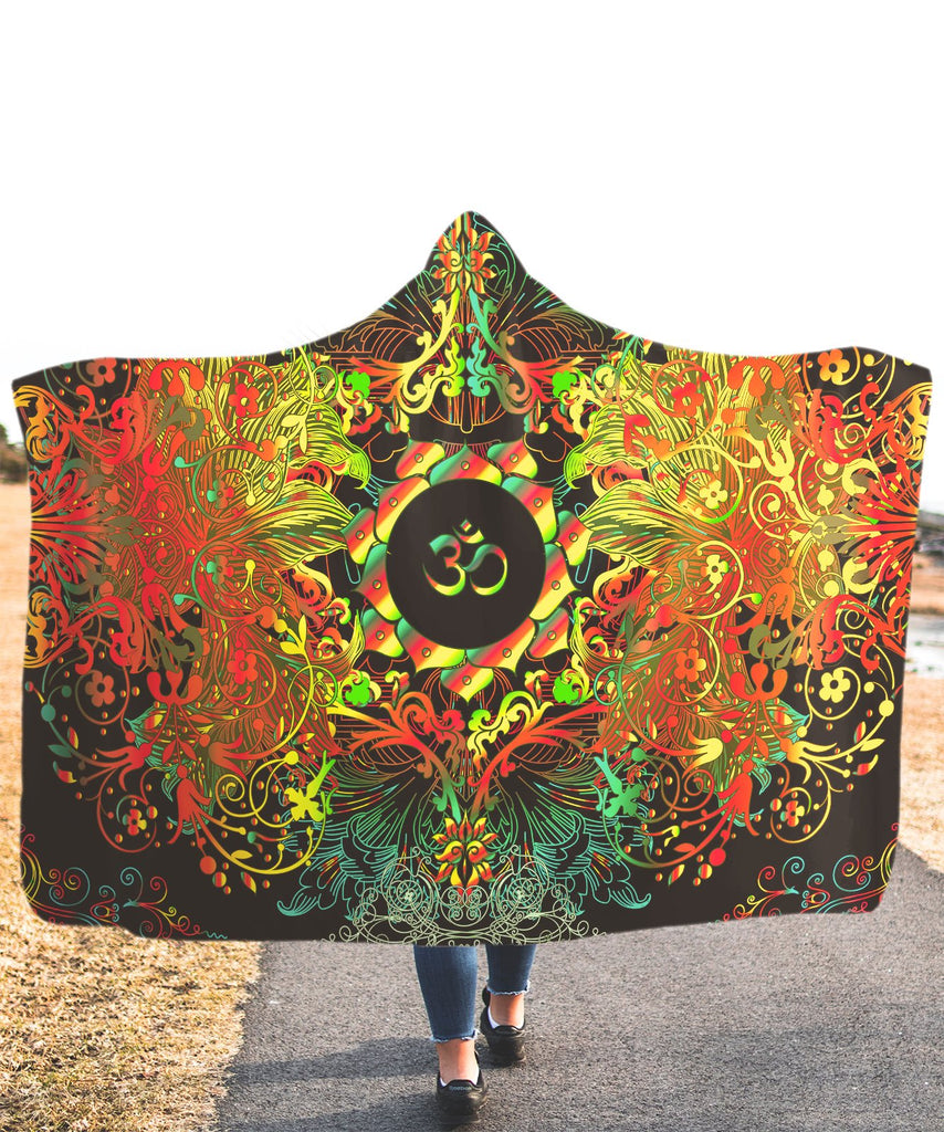 Mandala Orange Long Om Hooded Blanket
