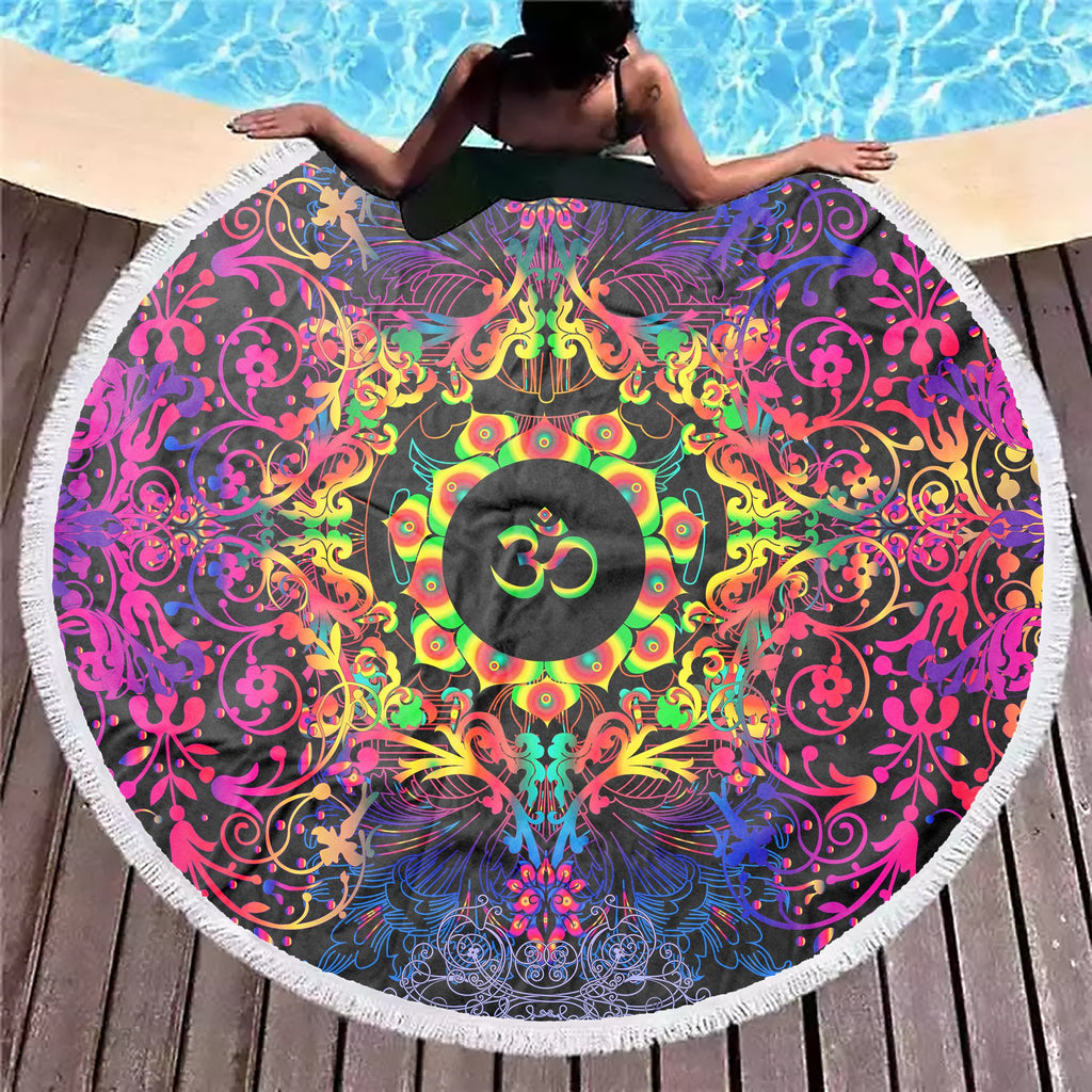 Mandala Mixed Om Beach Blanket