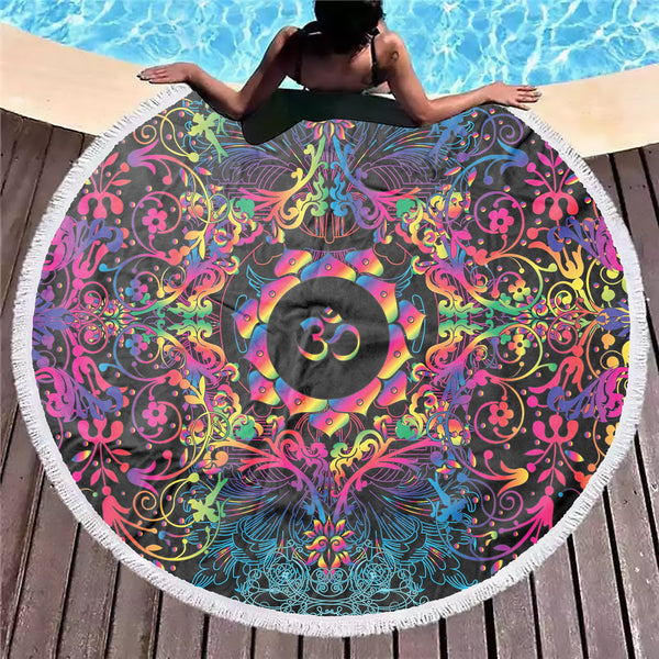 Mandala Natural Om Beach Blanket
