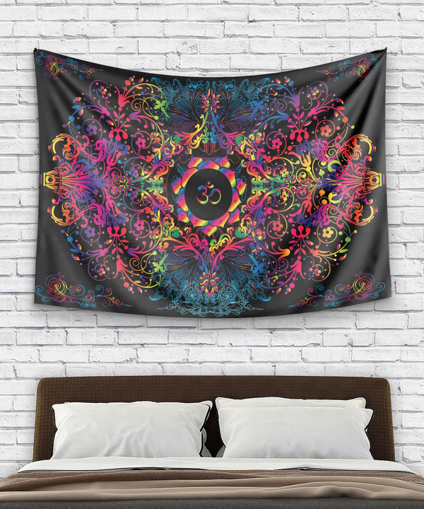 Mandala Natural Om Tapestry