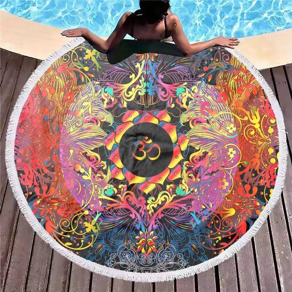 Mandala Om Halo Beach Blanket